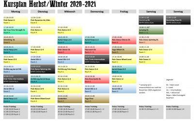 Neuer Kursplan Herbst/Winter 2020-2021